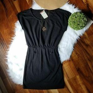 Solemio Boho hippy black cotton button dress